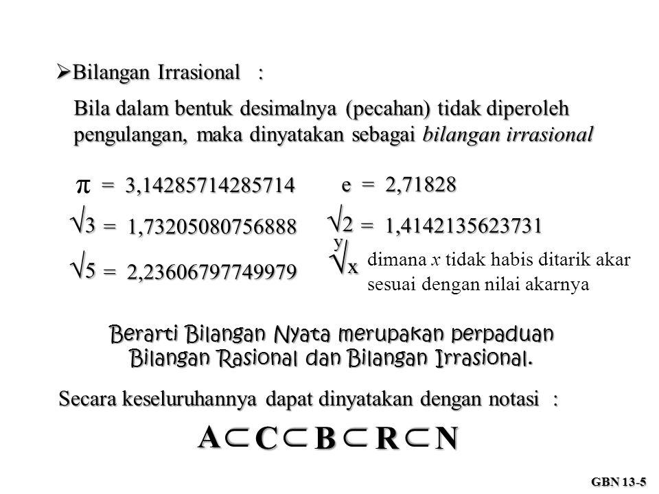 √x ∩ A C B R N π √3 √2 √5 Bilangan Irrasional :
