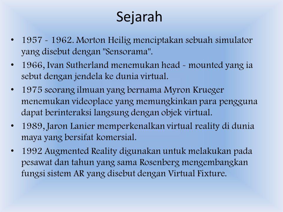Sejarah 1957 - 1962. Morton Heilig menciptakan sebuah simulator yang disebut dengan Sensorama .