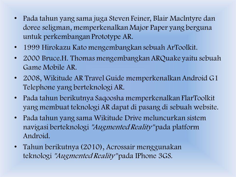 Pada tahun yang sama juga Steven Feiner, Blair Maclntyre dan doree seligman, memperkenalkan Major Paper yang berguna untuk perkembangan Prototype AR.