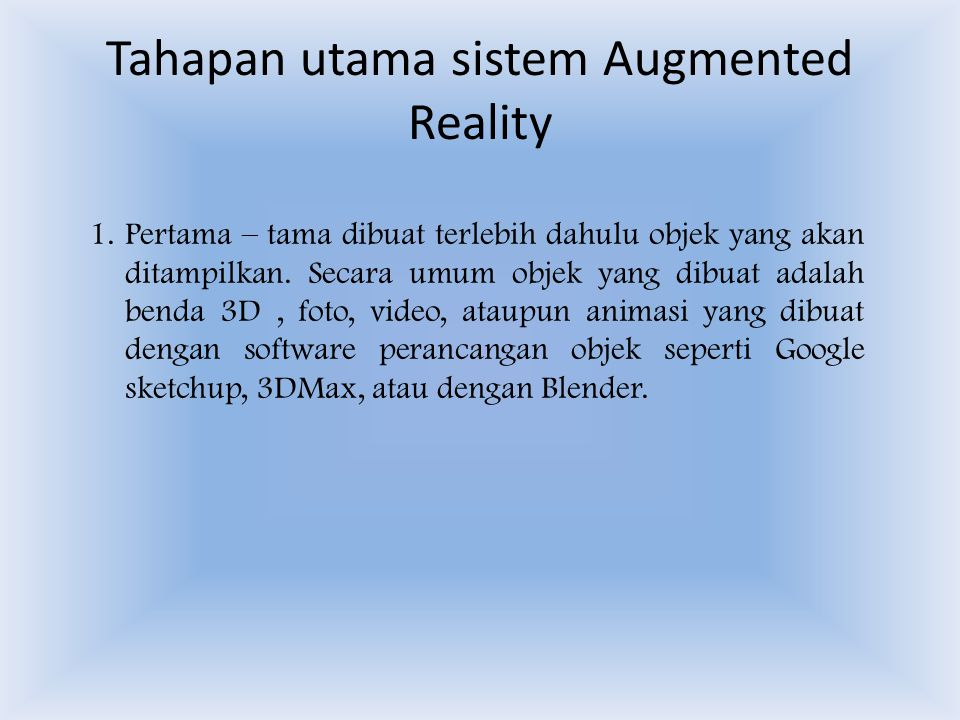 Tahapan utama sistem Augmented Reality