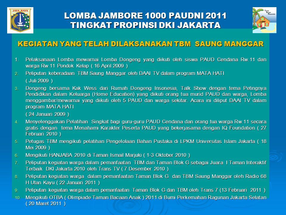 LOMBA JAMBORE 1000 PAUDNI 2011 TINGKAT PROPINSI DKI JAKARTA