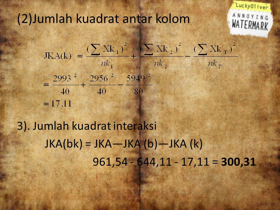 (2)Jumlah kuadrat antar kolom