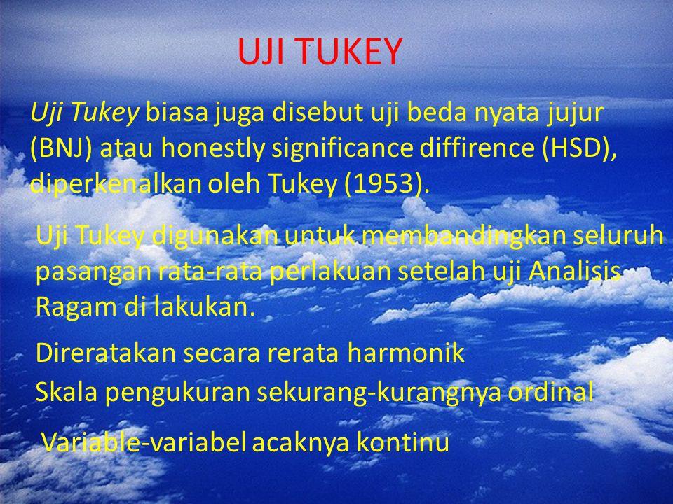 UJI TUKEY Uji Tukey biasa juga disebut uji beda nyata jujur (BNJ) atau honestly significance diffirence (HSD), diperkenalkan oleh Tukey (1953).