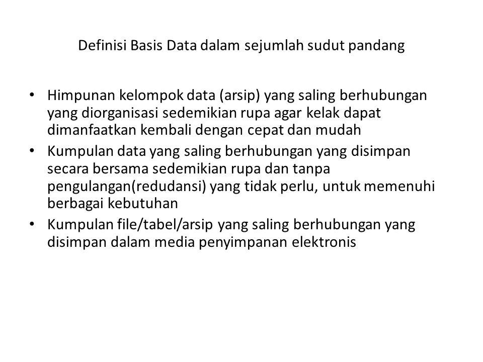 Definisi Basis Data dalam sejumlah sudut pandang