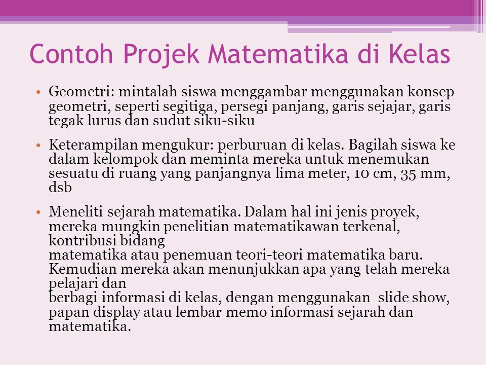 Contoh Projek Matematika di Kelas