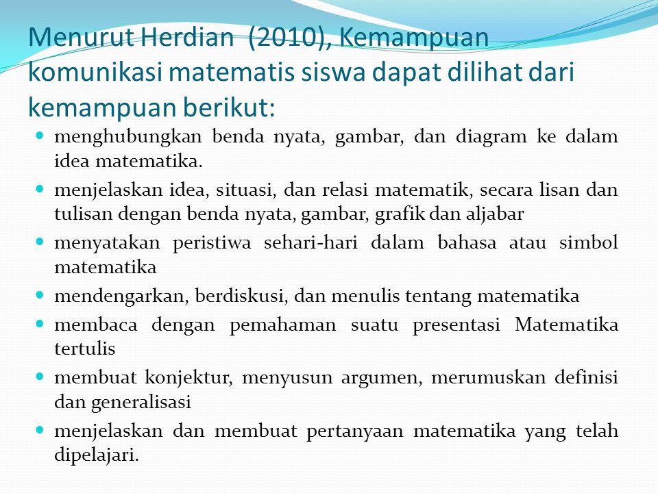 Menurut Herdian (2010), Kemampuan komunikasi matematis siswa dapat dilihat dari kemampuan berikut: