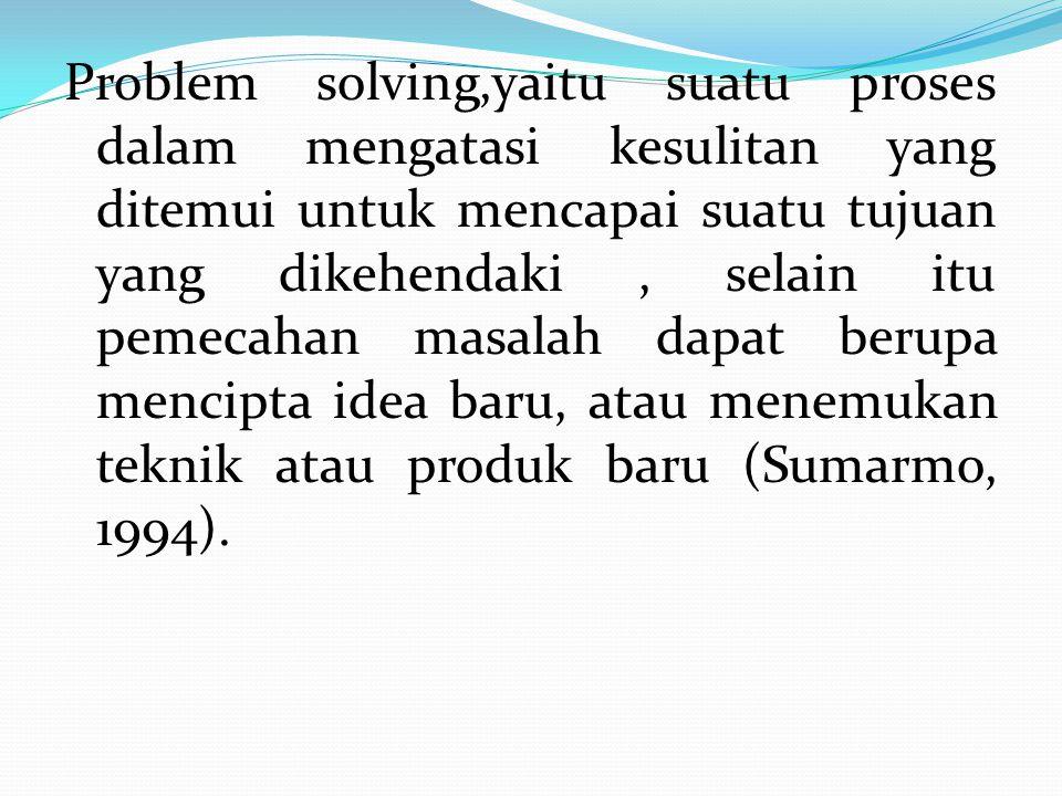Problem solving,yaitu suatu proses dalam mengatasi kesulitan yang ditemui untuk mencapai suatu tujuan yang dikehendaki , selain itu pemecahan masalah dapat berupa mencipta idea baru, atau menemukan teknik atau produk baru (Sumarmo, 1994).