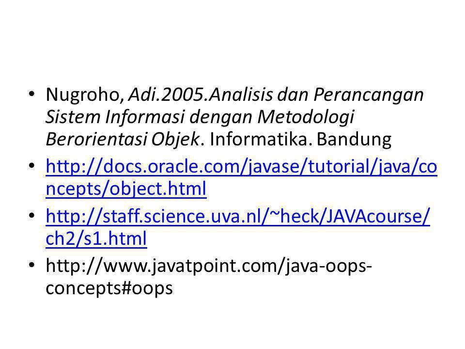 Nugroho, Adi.2005.Analisis dan Perancangan Sistem Informasi dengan Metodologi Berorientasi Objek. Informatika. Bandung