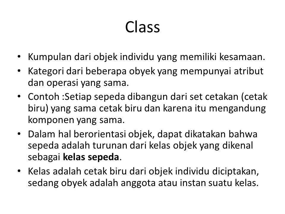 Class Kumpulan dari objek individu yang memiliki kesamaan.