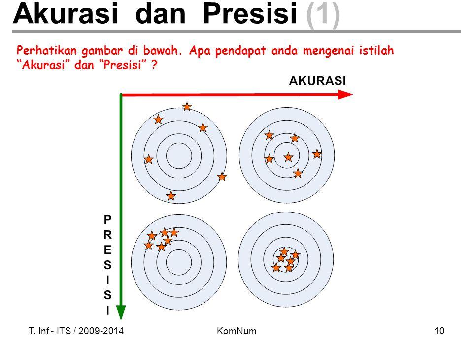 Akurasi dan Presisi (1) Perhatikan gambar di bawah. Apa pendapat anda mengenai istilah. Akurasi dan Presisi