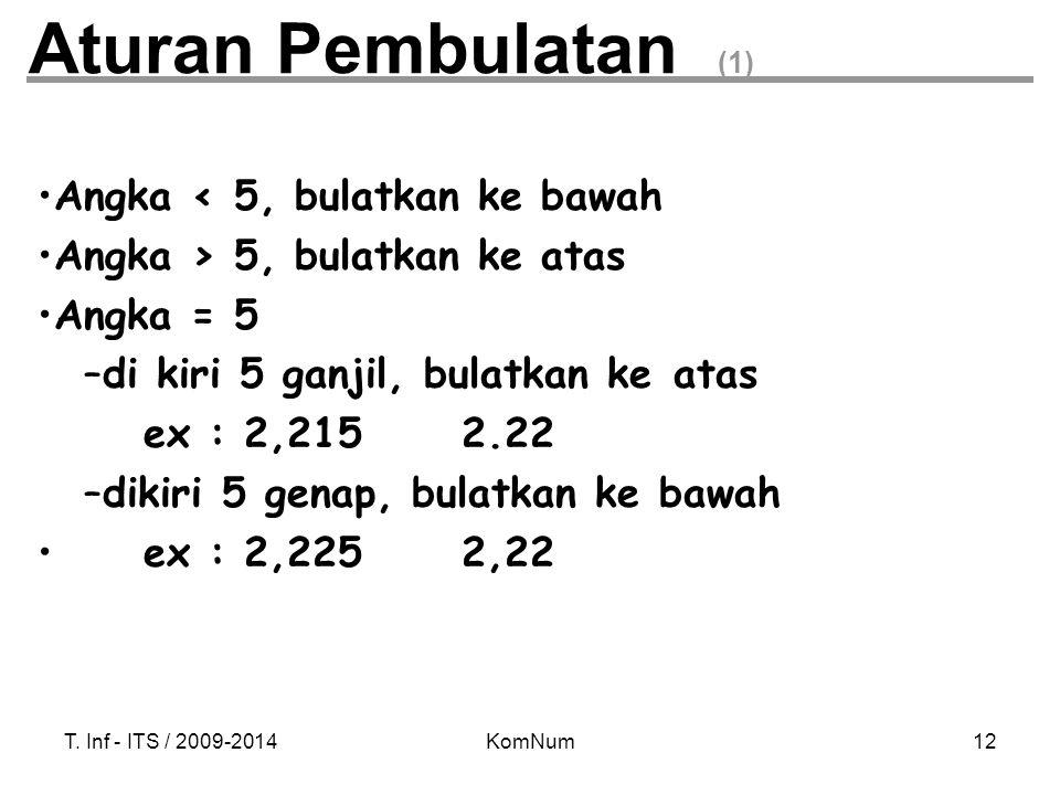 Aturan Pembulatan (1) Angka < 5, bulatkan ke bawah