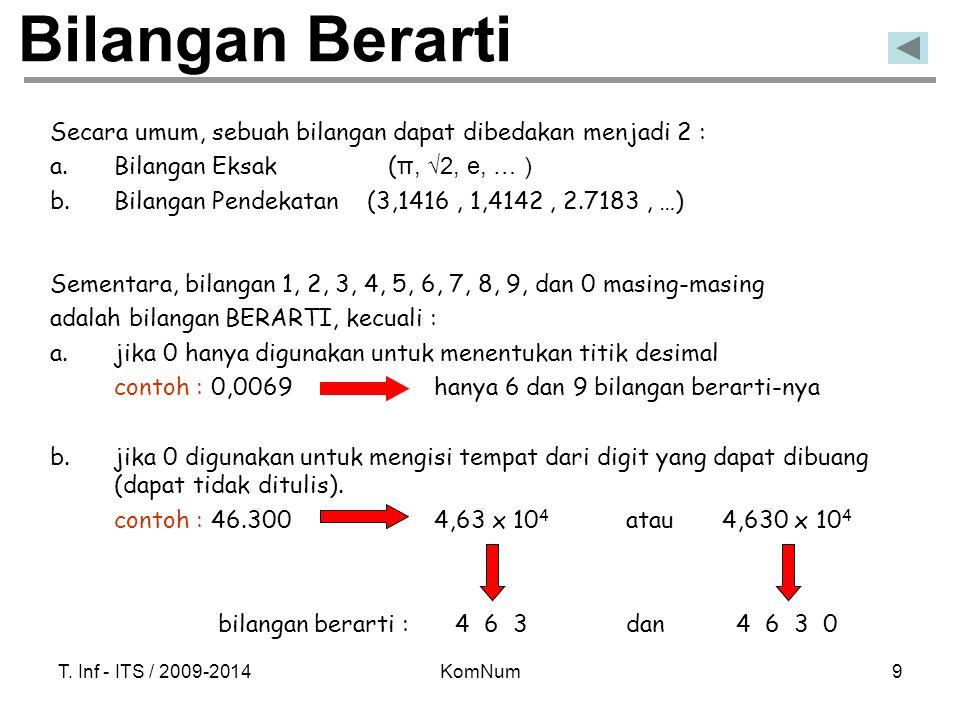 Bilangan Berarti Secara umum, sebuah bilangan dapat dibedakan menjadi 2 : Bilangan Eksak (π, √2, e, … )