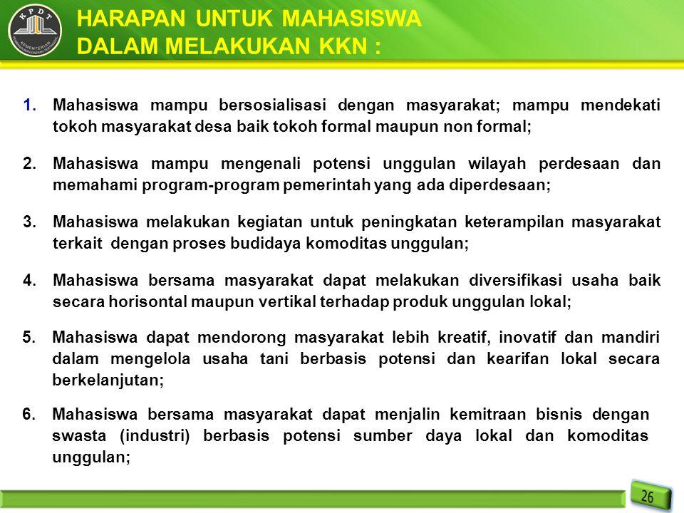 HARAPAN UNTUK MAHASISWA DALAM MELAKUKAN KKN :