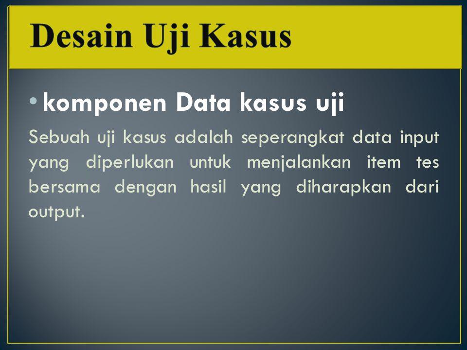 Desain Uji Kasus komponen Data kasus uji