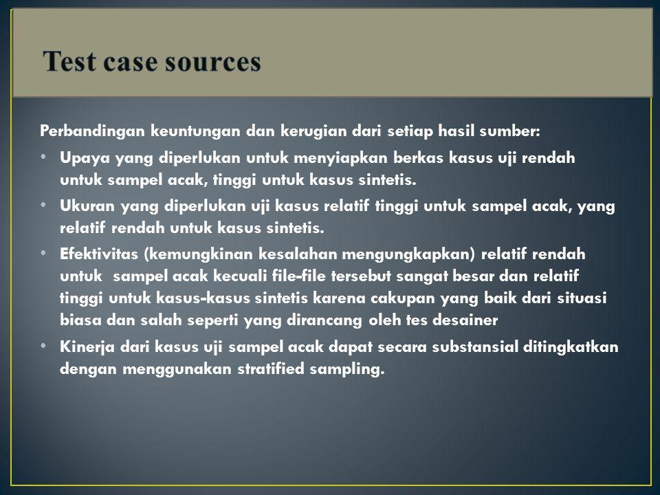 Test case sources Perbandingan keuntungan dan kerugian dari setiap hasil sumber: