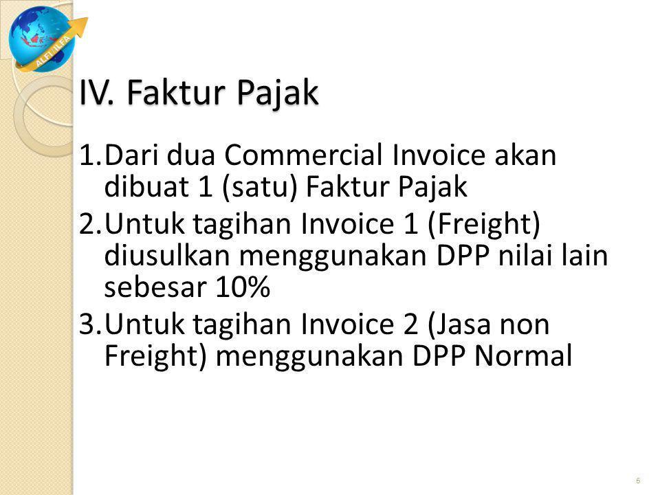Faktur Pajak dibuat hanya untuk penyerahan JKP Freight dan Jasa non Freight yang dikenakan PPN (Ps. 4)
