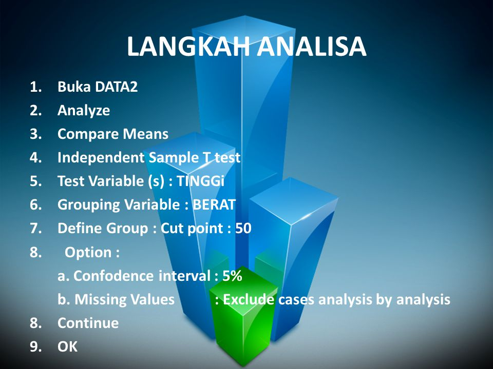 LANGKAH ANALISA Buka DATA2 Analyze Compare Means