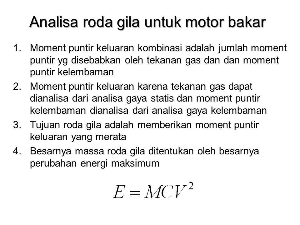 Analisa roda gila untuk motor bakar