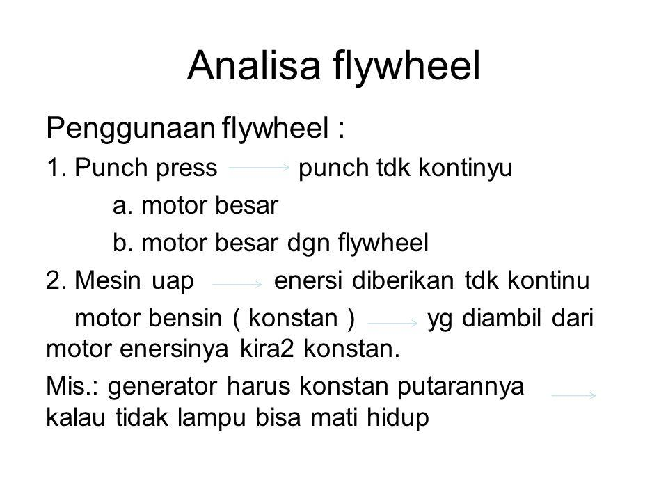 Analisa flywheel Penggunaan flywheel :