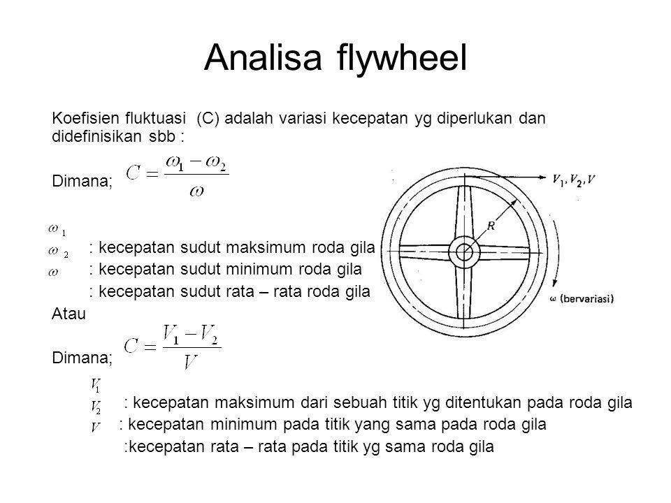 Analisa flywheel Koefisien fluktuasi (C) adalah variasi kecepatan yg diperlukan dan didefinisikan sbb :