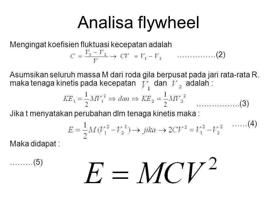 Analisa flywheel Mengingat koefisien fluktuasi kecepatan adalah