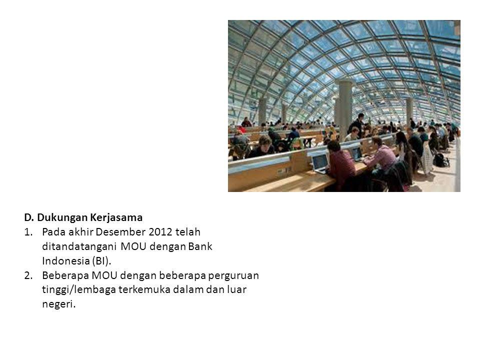 D. Dukungan Kerjasama Pada akhir Desember 2012 telah ditandatangani MOU dengan Bank Indonesia (BI).