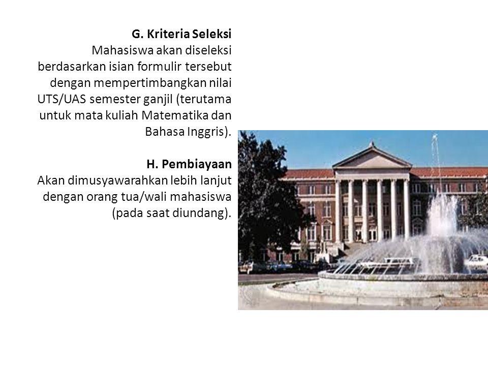 G. Kriteria Seleksi