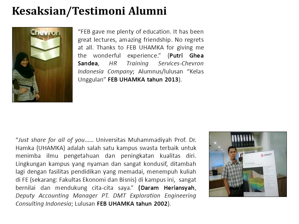 Kesaksian/Testimoni Alumni