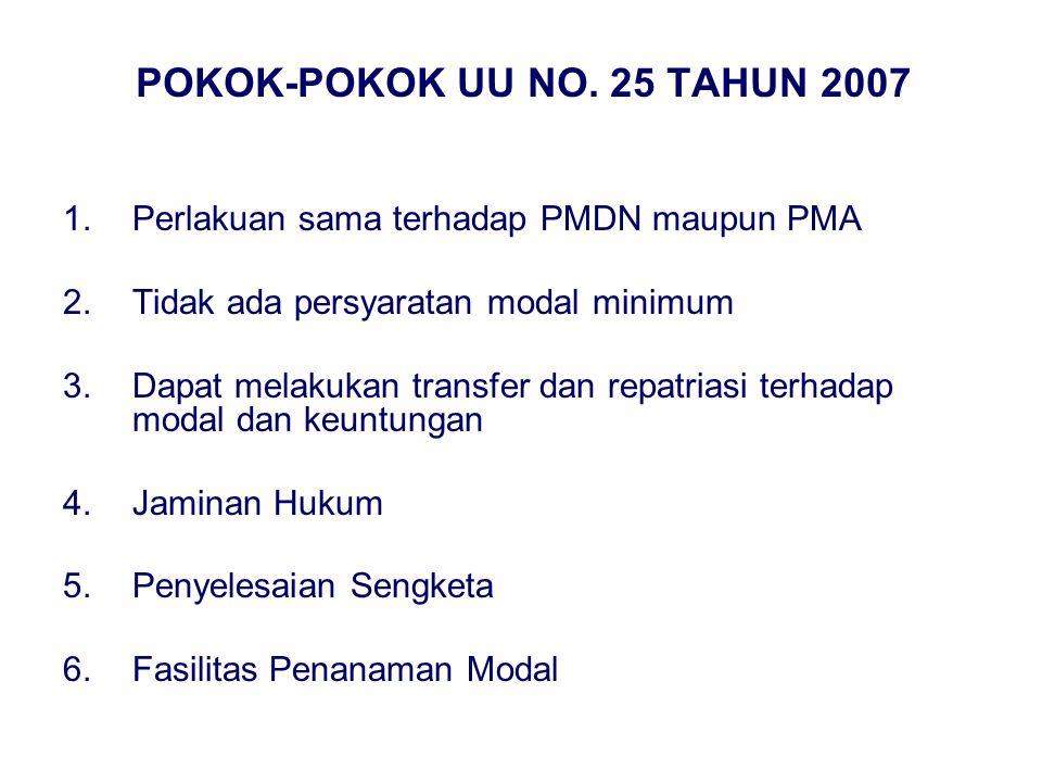 POKOK-POKOK UU NO. 25 TAHUN 2007