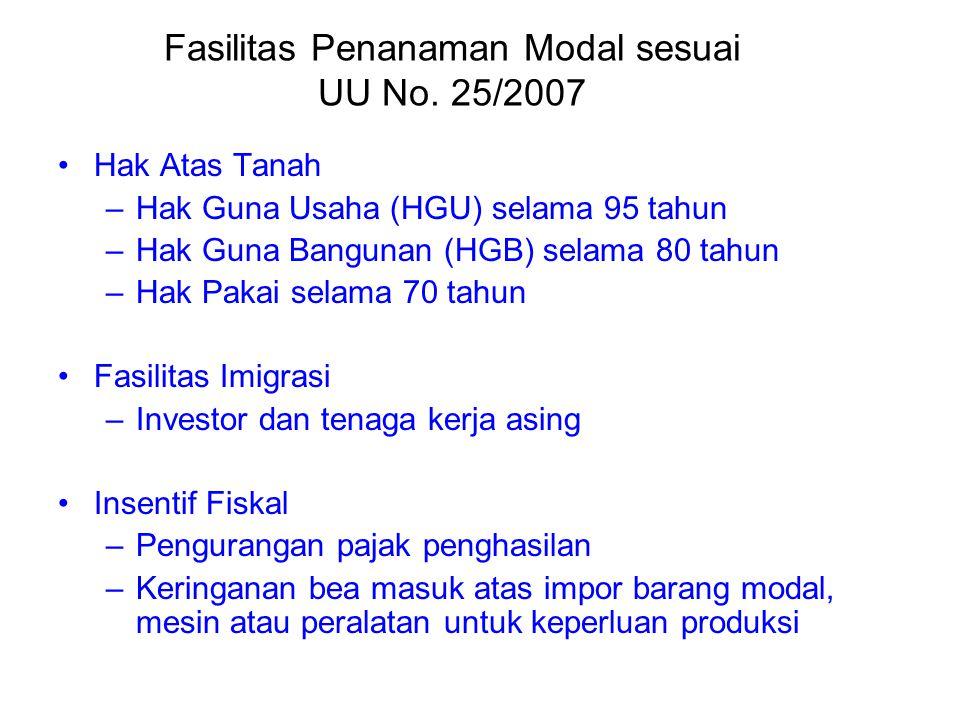 Fasilitas Penanaman Modal sesuai UU No. 25/2007