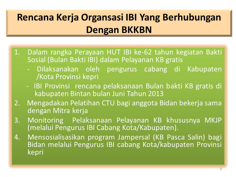 Rencana Kerja Organsasi IBI Yang Berhubungan Dengan BKKBN