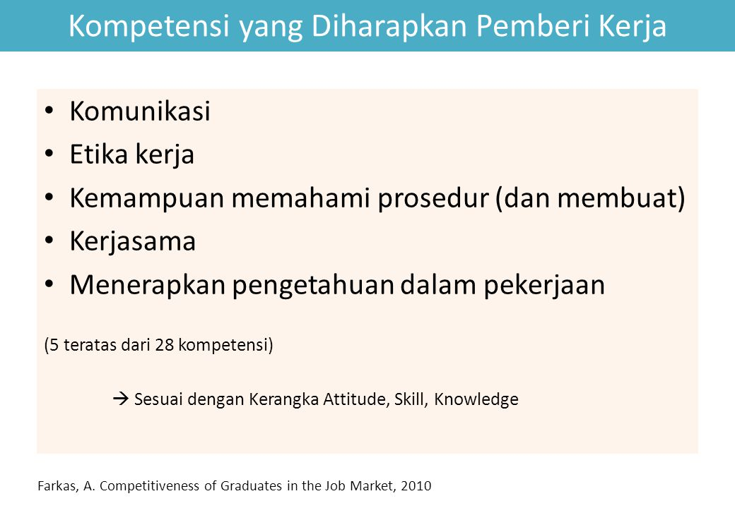 Kompetensi yang Diharapkan Pemberi Kerja