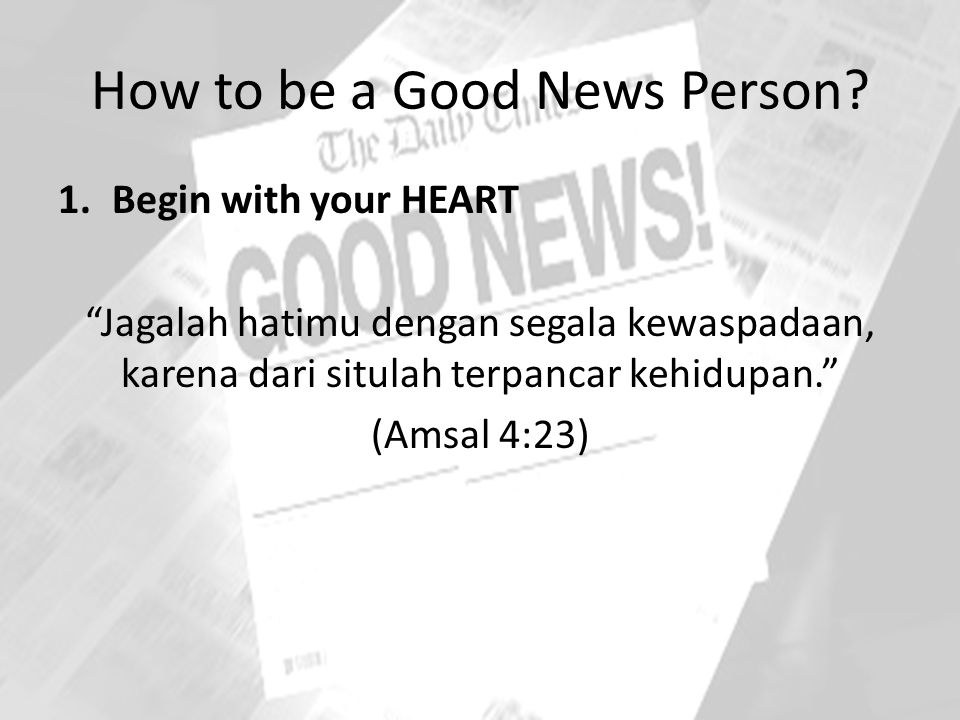How to be a Good News Person