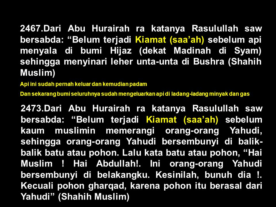 2467.Dari Abu Hurairah ra katanya Rasulullah saw bersabda: Belum terjadi Kiamat (saa'ah) sebelum api menyala di bumi Hijaz (dekat Madinah di Syam) sehingga menyinari leher unta-unta di Bushra (Shahih Muslim)