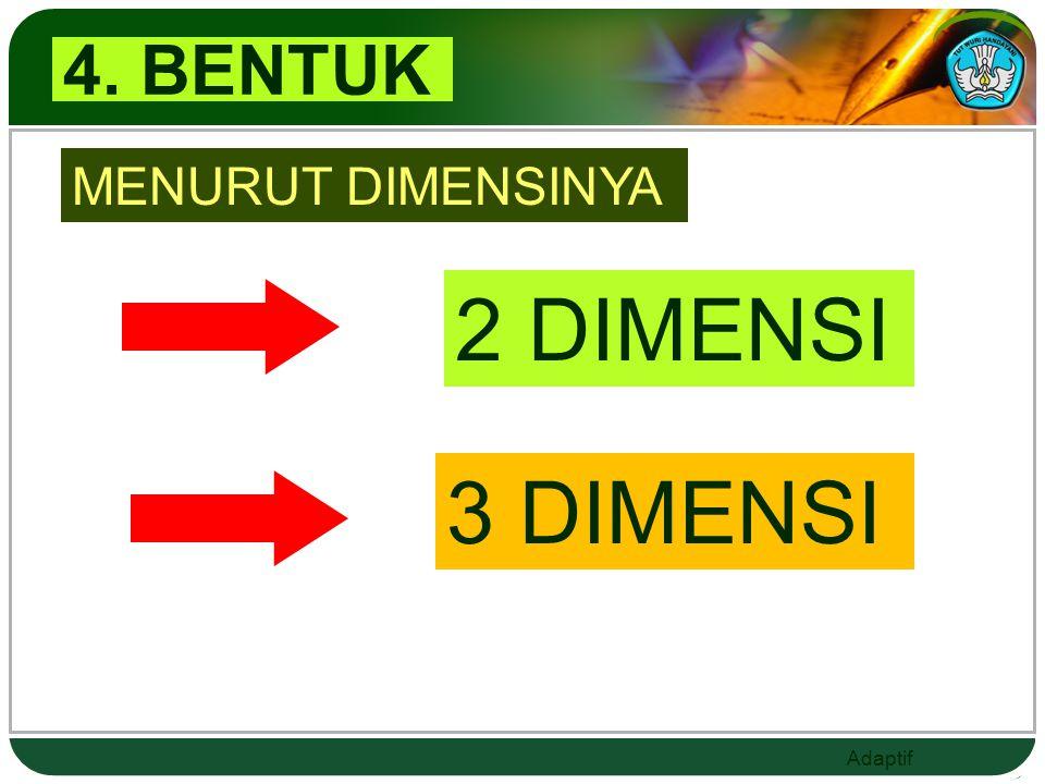 4. BENTUK MENURUT DIMENSINYA 2 DIMENSI 3 DIMENSI