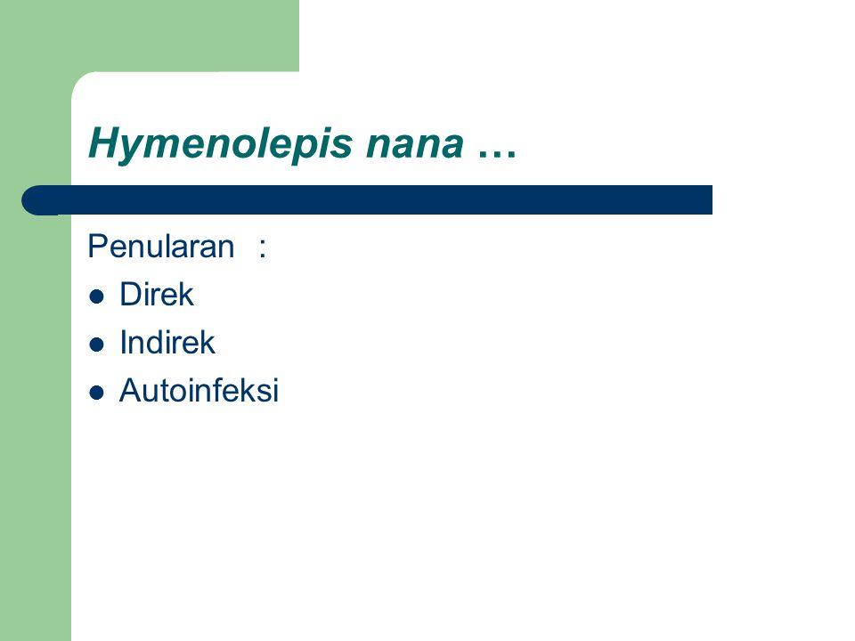 Hymenolepis nana … Penularan : Direk Indirek Autoinfeksi