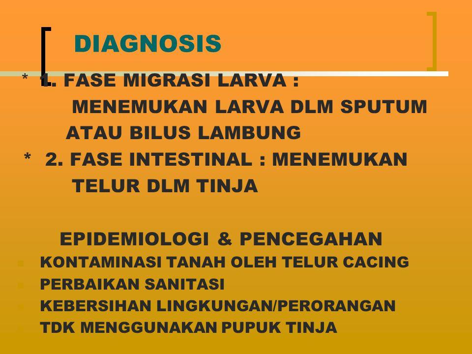 DIAGNOSIS * 1. FASE MIGRASI LARVA : MENEMUKAN LARVA DLM SPUTUM