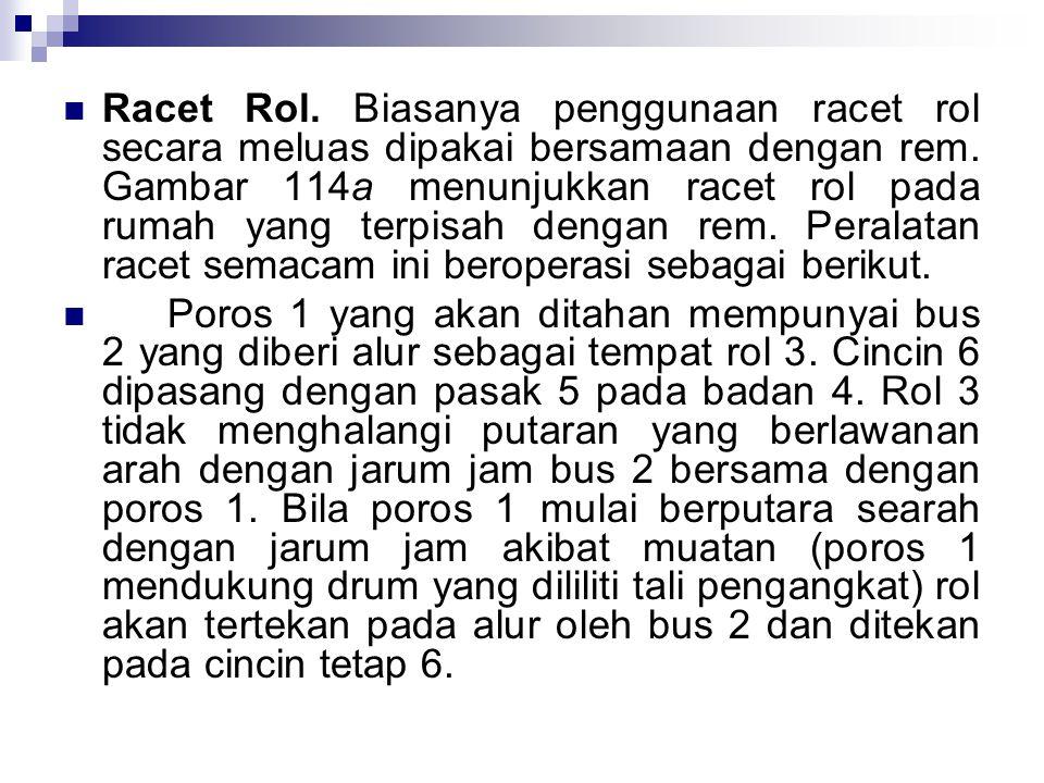 Racet Rol. Biasanya penggunaan racet rol secara meluas dipakai bersamaan dengan rem. Gambar 114a menunjukkan racet rol pada rumah yang terpisah dengan rem. Peralatan racet semacam ini beroperasi sebagai berikut.