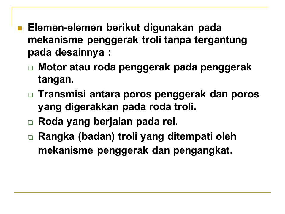 Elemen-elemen berikut digunakan pada mekanisme penggerak troli tanpa tergantung pada desainnya :