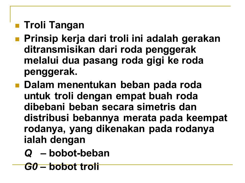 Troli Tangan Prinsip kerja dari troli ini adalah gerakan ditransmisikan dari roda penggerak melalui dua pasang roda gigi ke roda penggerak.