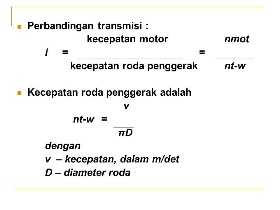 Perbandingan transmisi :