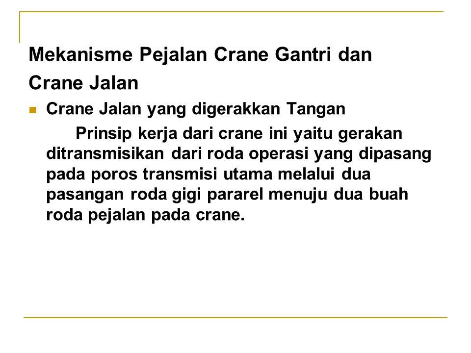 Mekanisme Pejalan Crane Gantri dan Crane Jalan