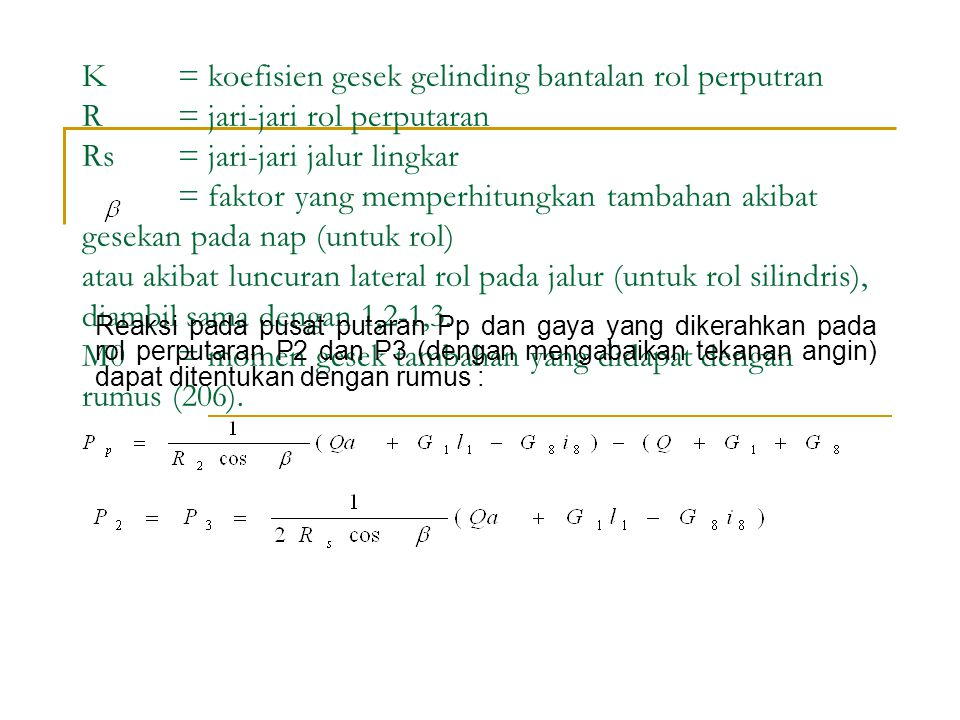 K. = koefisien gesek gelinding bantalan rol perputran R