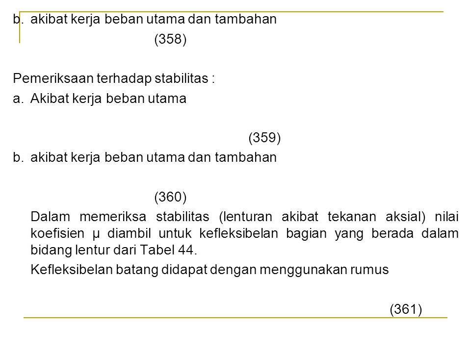 b. akibat kerja beban utama dan tambahan