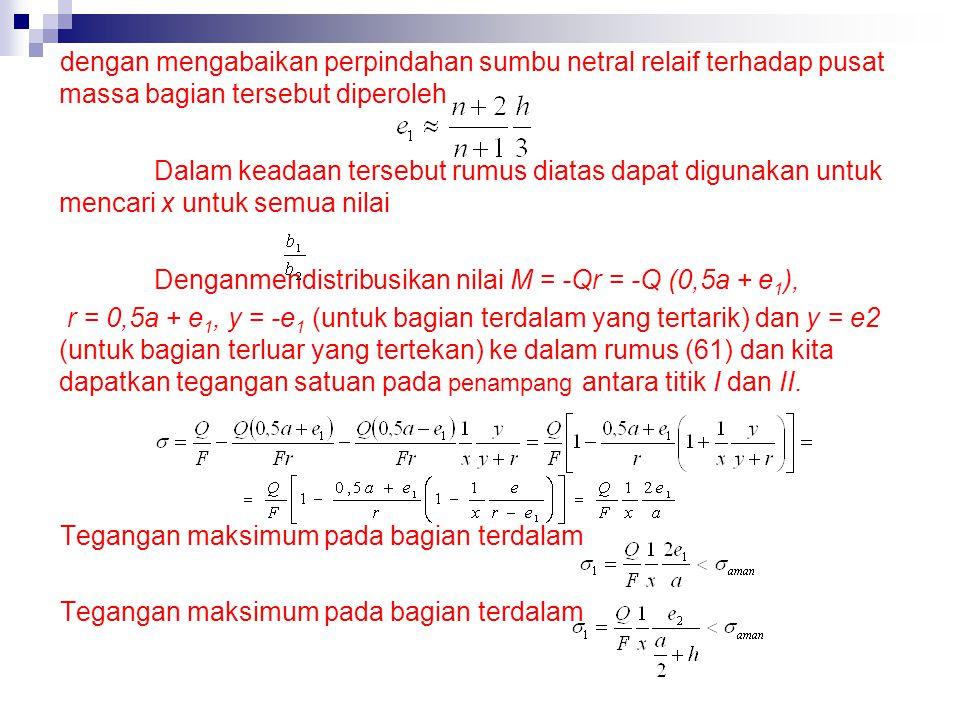 dengan mengabaikan perpindahan sumbu netral relaif terhadap pusat massa bagian tersebut diperoleh