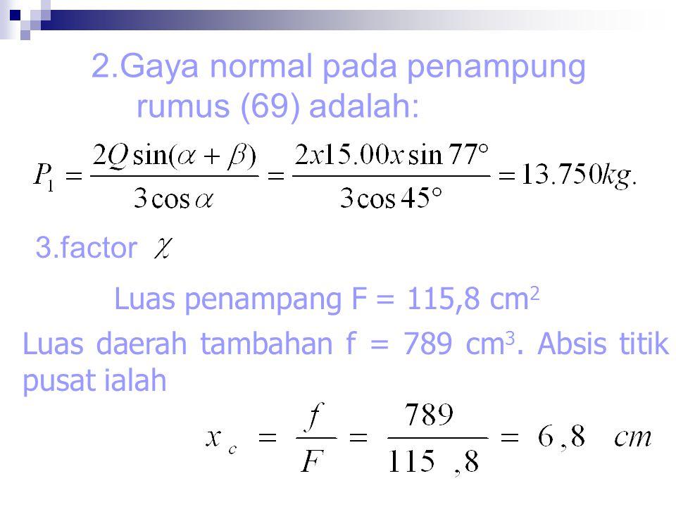 2.Gaya normal pada penampung rumus (69) adalah: