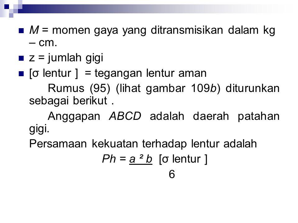 M = momen gaya yang ditransmisikan dalam kg – cm.