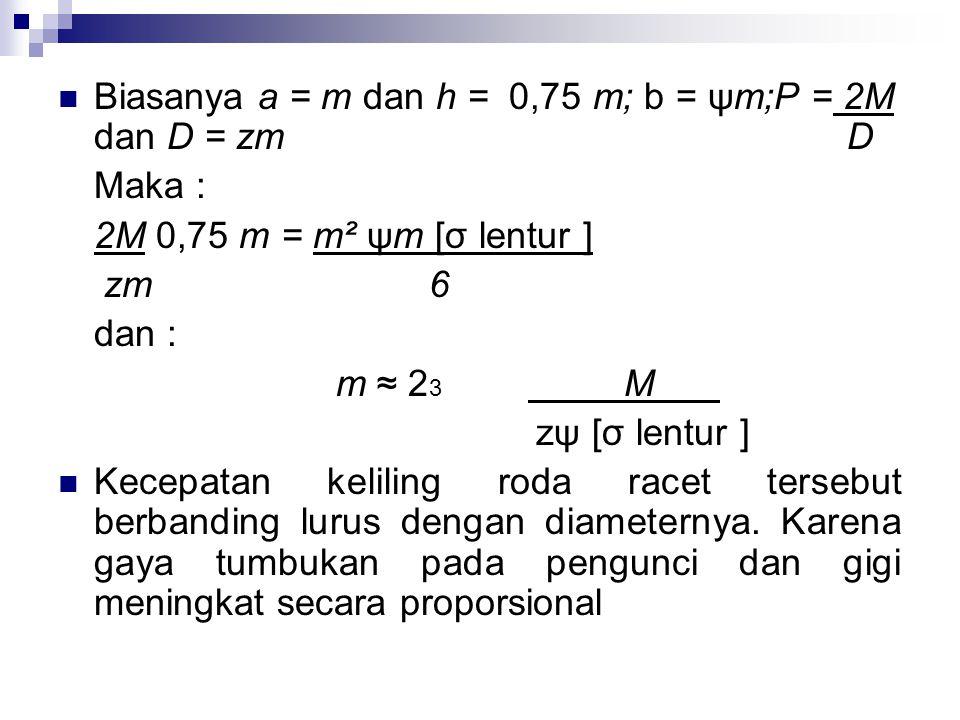 Biasanya a = m dan h = 0,75 m; b = ψm;P = 2M dan D = zm D