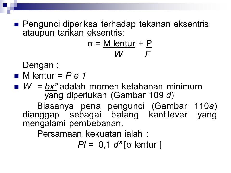 Pengunci diperiksa terhadap tekanan eksentris ataupun tarikan eksentris;