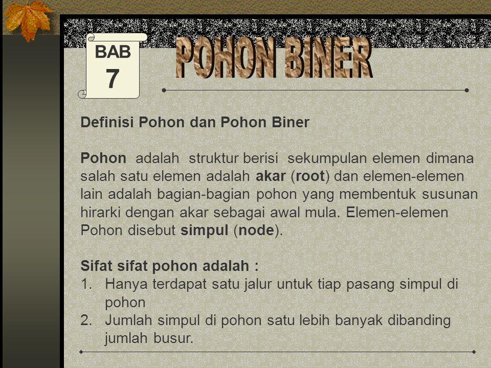 7 POHON BINER BAB Definisi Pohon dan Pohon Biner